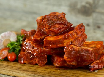Marinated pork, pork ribs, classic and red marinade, BBQ meat
